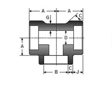 ASME B16.11 Socket Weld Equal Tee Dimensions