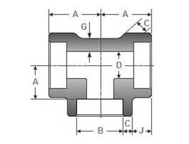 ASME B16.11 Socket Weld Reducing Tee Dimensions
