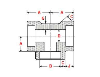 ASME B16.11 Socket Weld Tee Dimensions