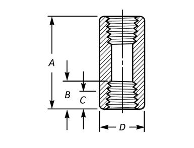 ASME B16.11 Threaded Full Coupling Dimensions