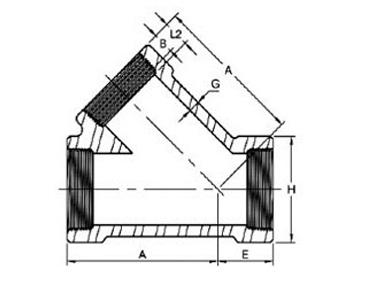 ASME B16.11 Threaded Lateral Tee Dimensions