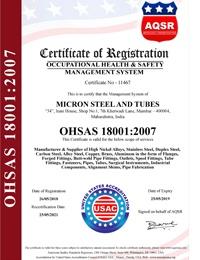 OHSAS 18000:2007 Certificates